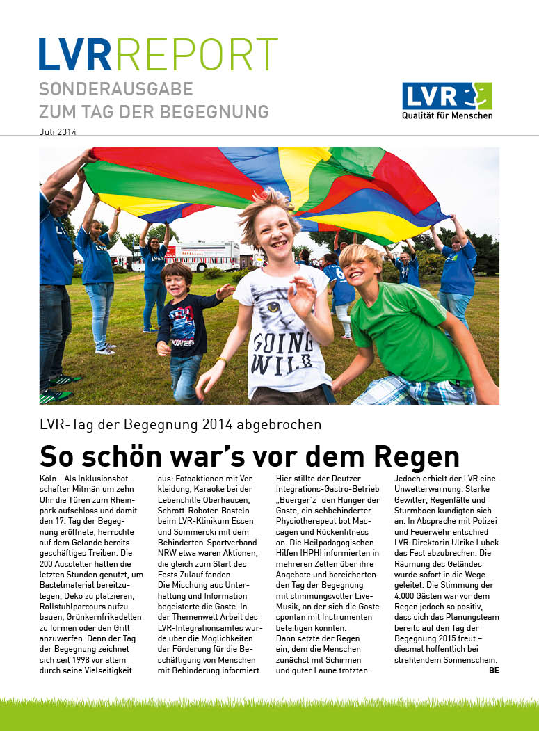 LVR-Report Juli 2014 - Sonderbeilage zum Tag der Begegnung